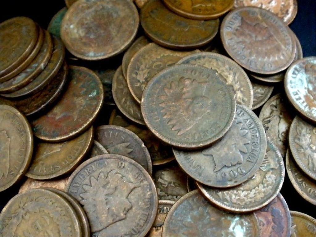 22: Lot of 100 Indian Head Cents- Circulated