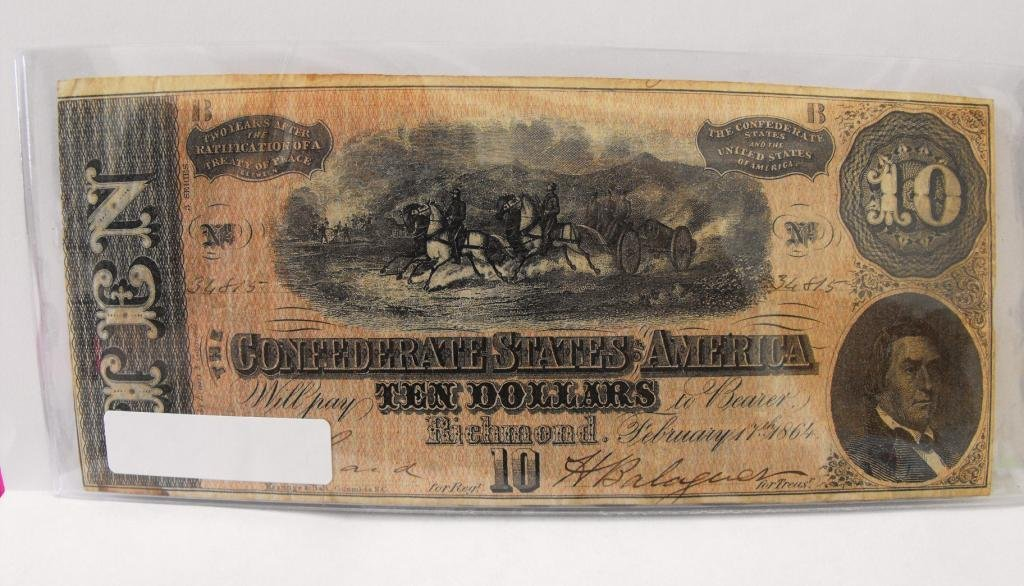 2R: $10 Confederate States Currency