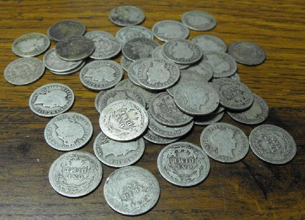 2O: Lot Of 50 Barber Dimes