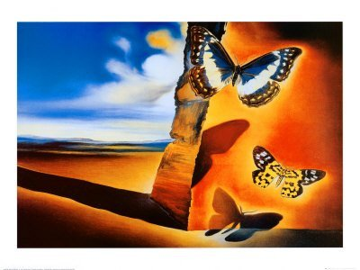 """2P: Salvidor Dali """"Landscape w/ Buttterflies""""  31 x 23"""