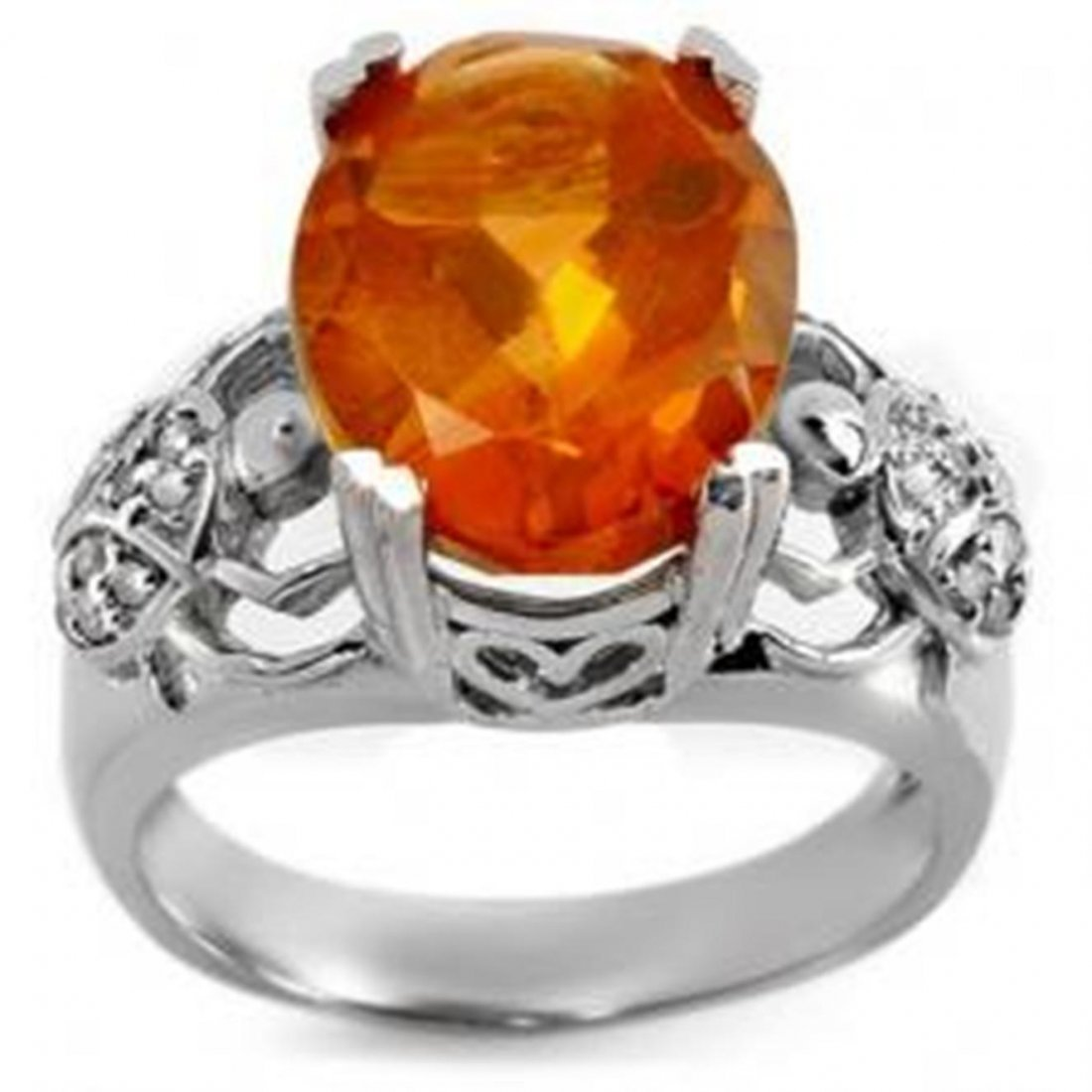 4F: 6.20 ctw Citrine & Diamond Ring