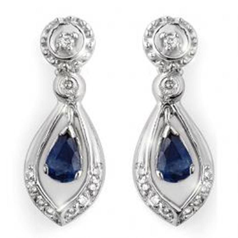 8A: 1.36 ctw Blue Sapphire & Diamond Earrings