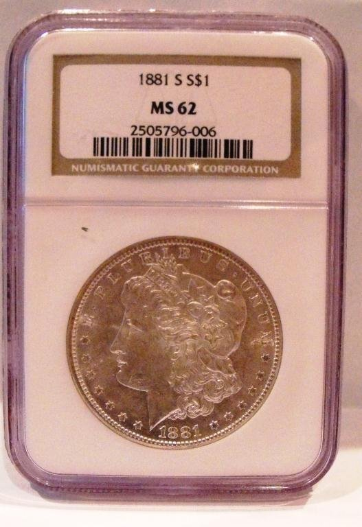 1A: 1881 s MS 62 NGC Morgan Dollar