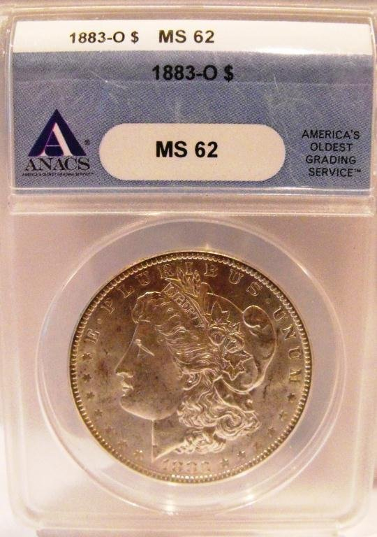 4A: 1883 O ANACS MS 62 Morgan Dollar