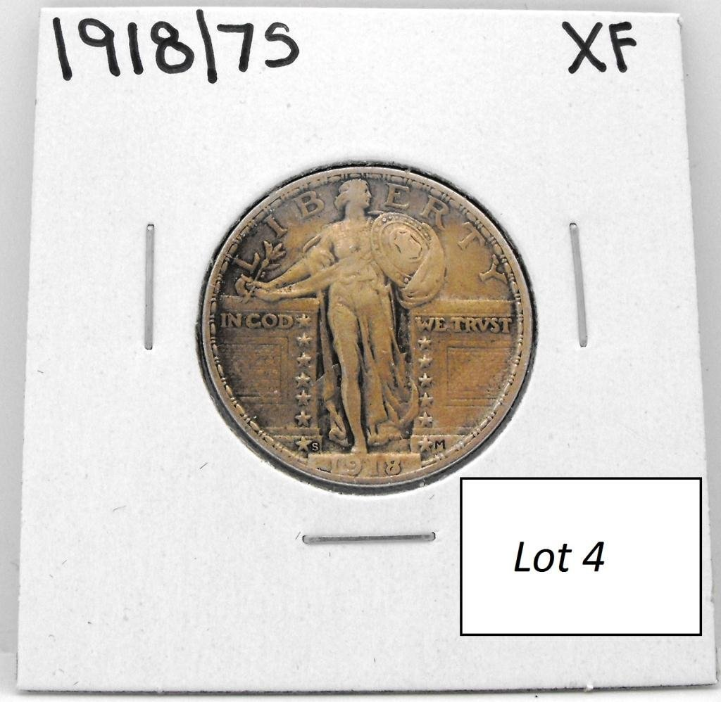 4B: 1918 over 17 S RARE RARITY Standing Liberty 25c