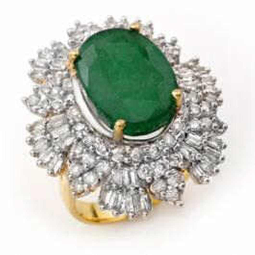 1W: 11.65ctw Emerald & Diamond Ring 14K