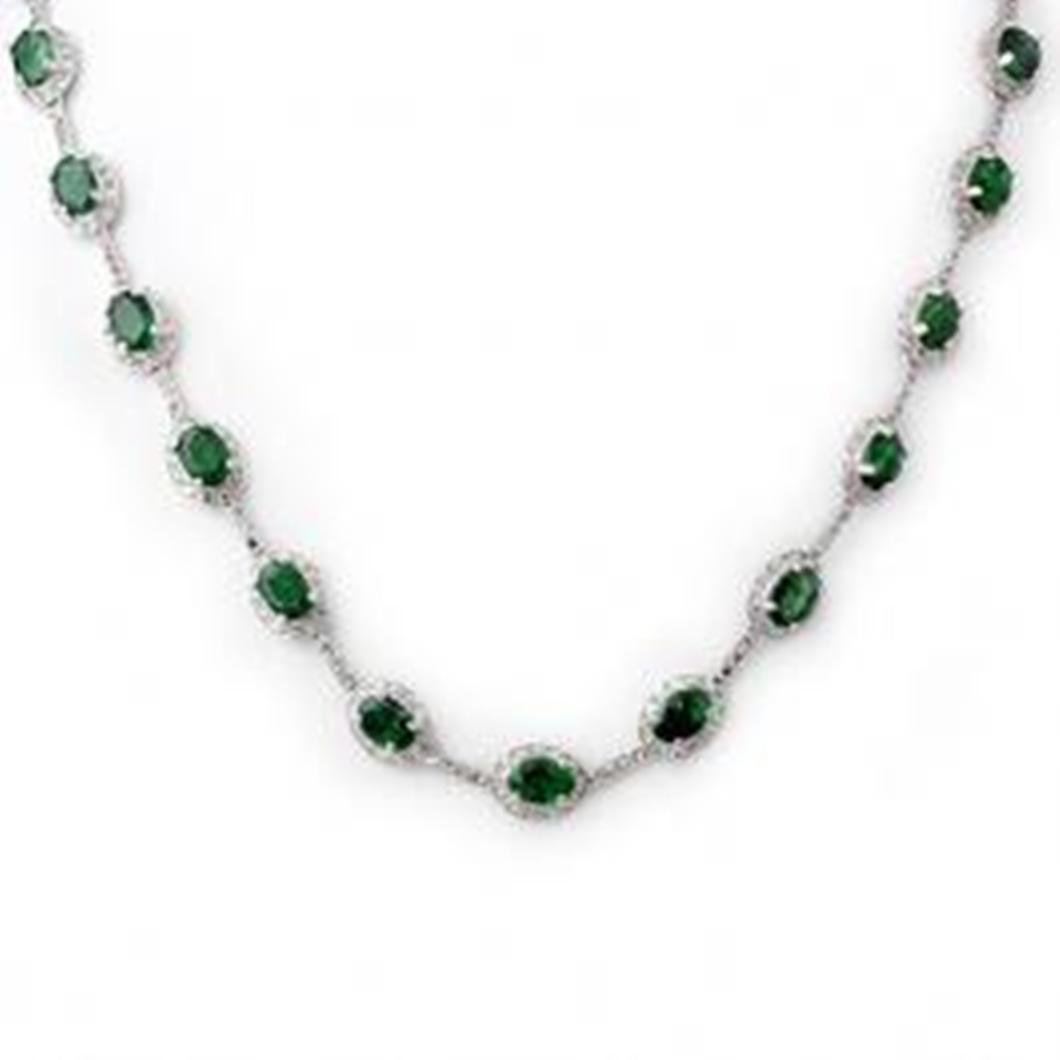 7W: 21.0 ctw Emerald & Diamond Necklace