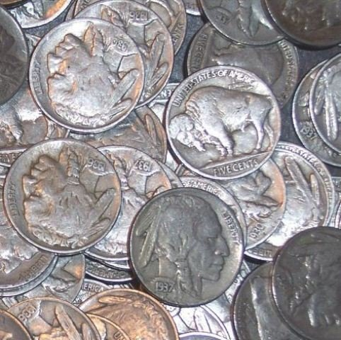 4S: Lot of 500 Buffalo / Indian Head Nickels- RD