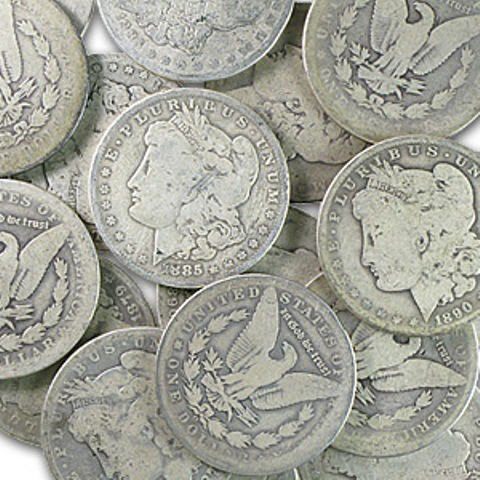 6S: Lot of 300 Morgan Silver Dollars - AG-XF-AU and BU