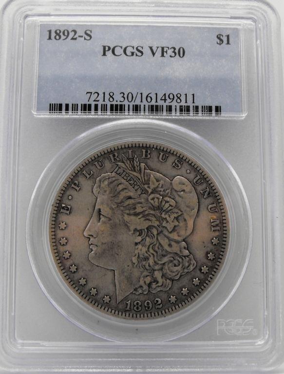 3: 1892 s VF 30 Morgan Silver Dollar PCGS