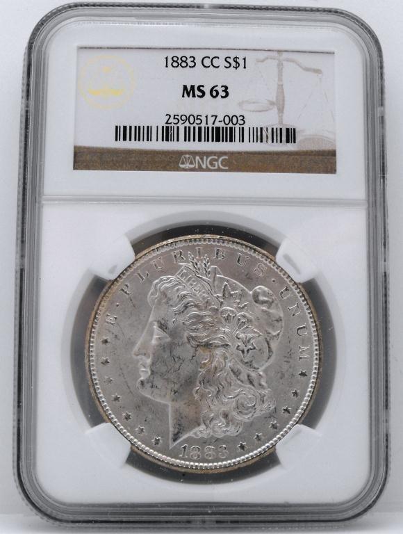 6: 1883 Carson City MS 63 Morgan Dollar NGC