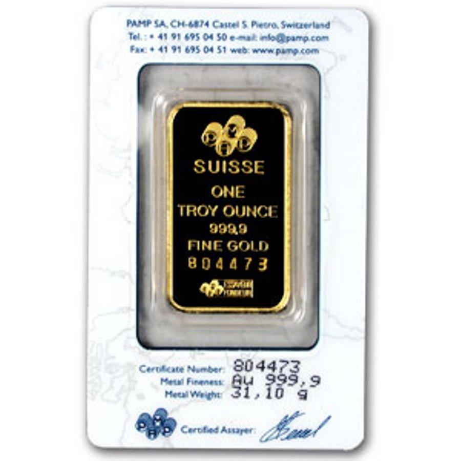 176: 1 oz. Gold Pamp Suisse Ingot 999.9