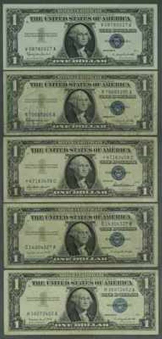 1: Lot of 5 Silver Certificates - Circulated