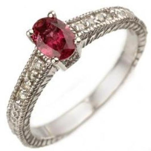 5J: 0.66ctw Pink Tourmaline & Diamond Ring 10K