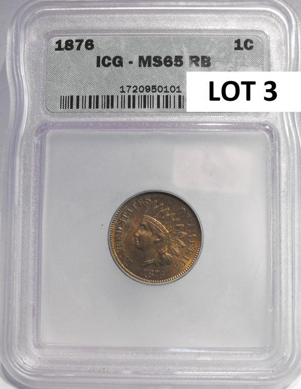 3: 1876 Indian Head Cent MS 65 RB ICG