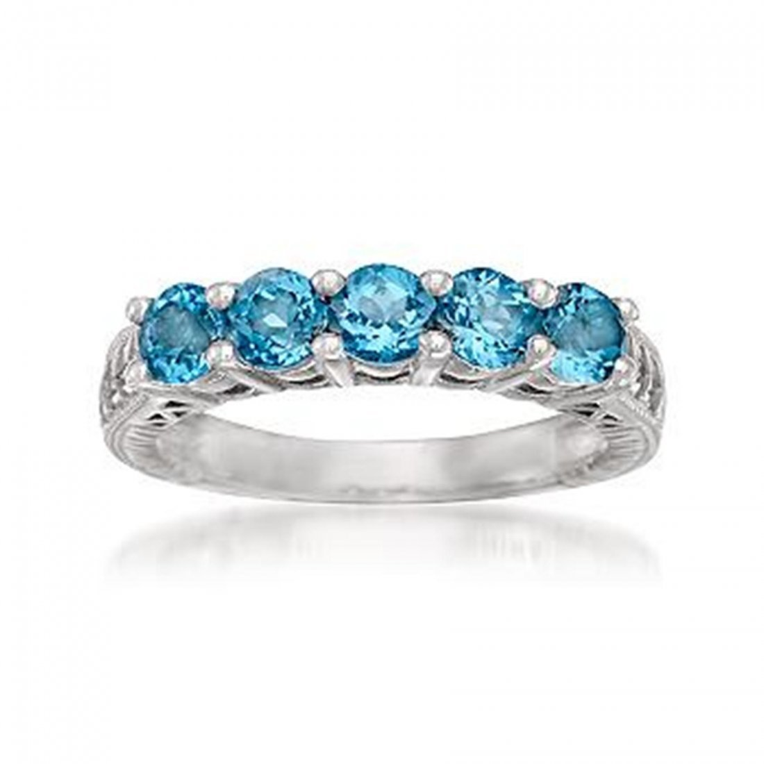2H: 1.50 ct. t.w. Blue Topaz 5-Stone Ring in Sterling S