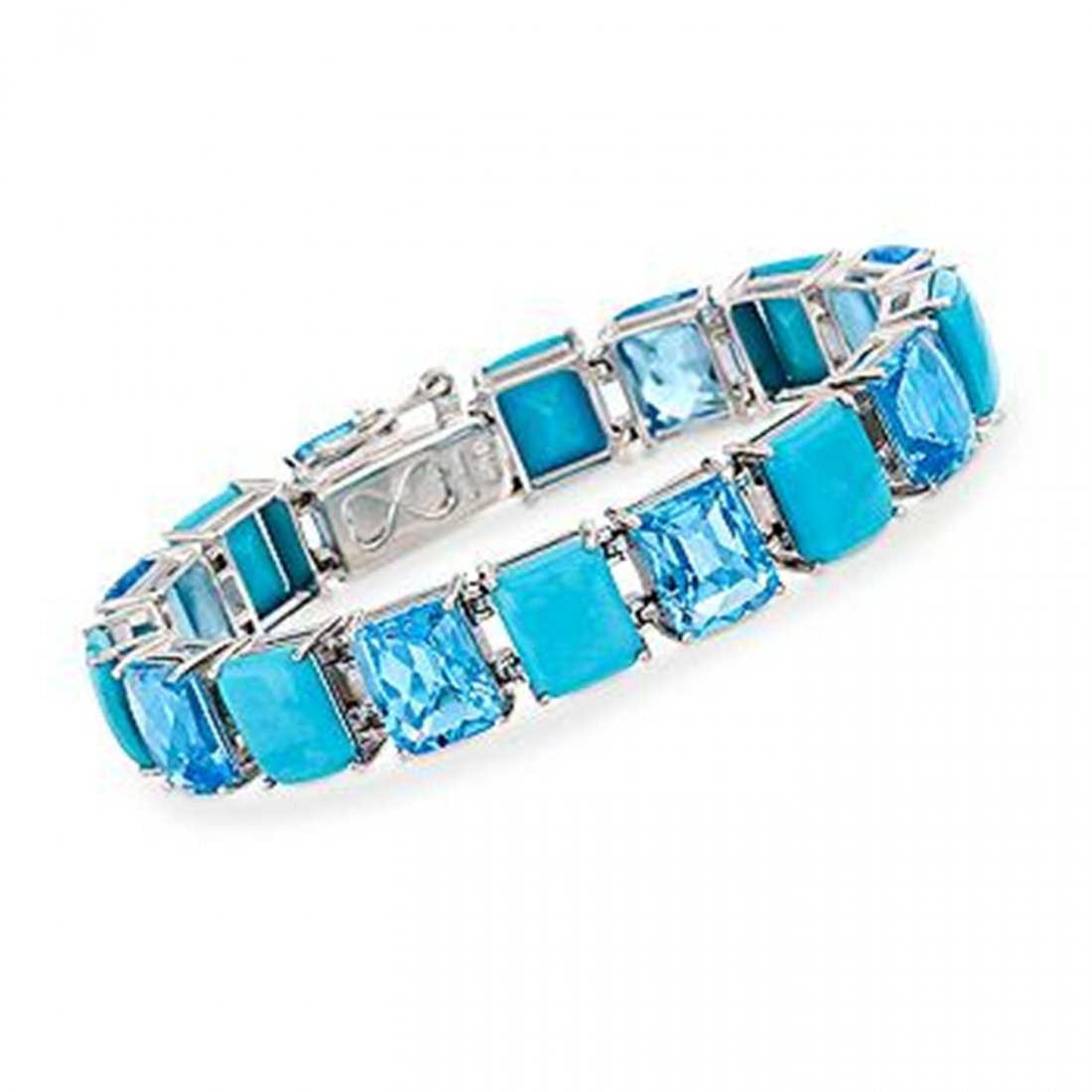 3H: 36.00 ct. t.w. Topaz and Turquoise Bracelet in Ster