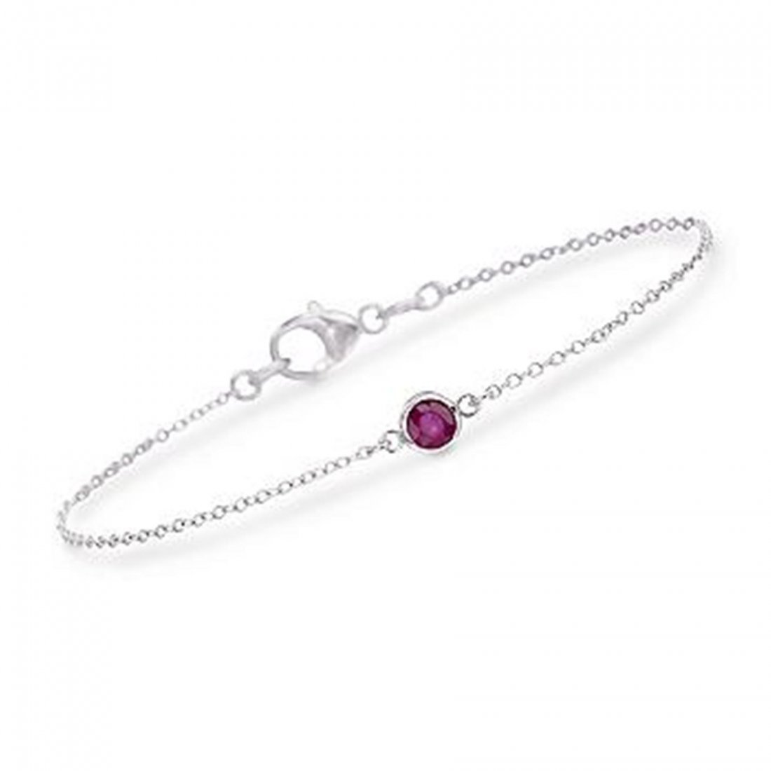 "4H: .25 Carat Ruby Bracelet in Sterling Silver. 7"" Item"