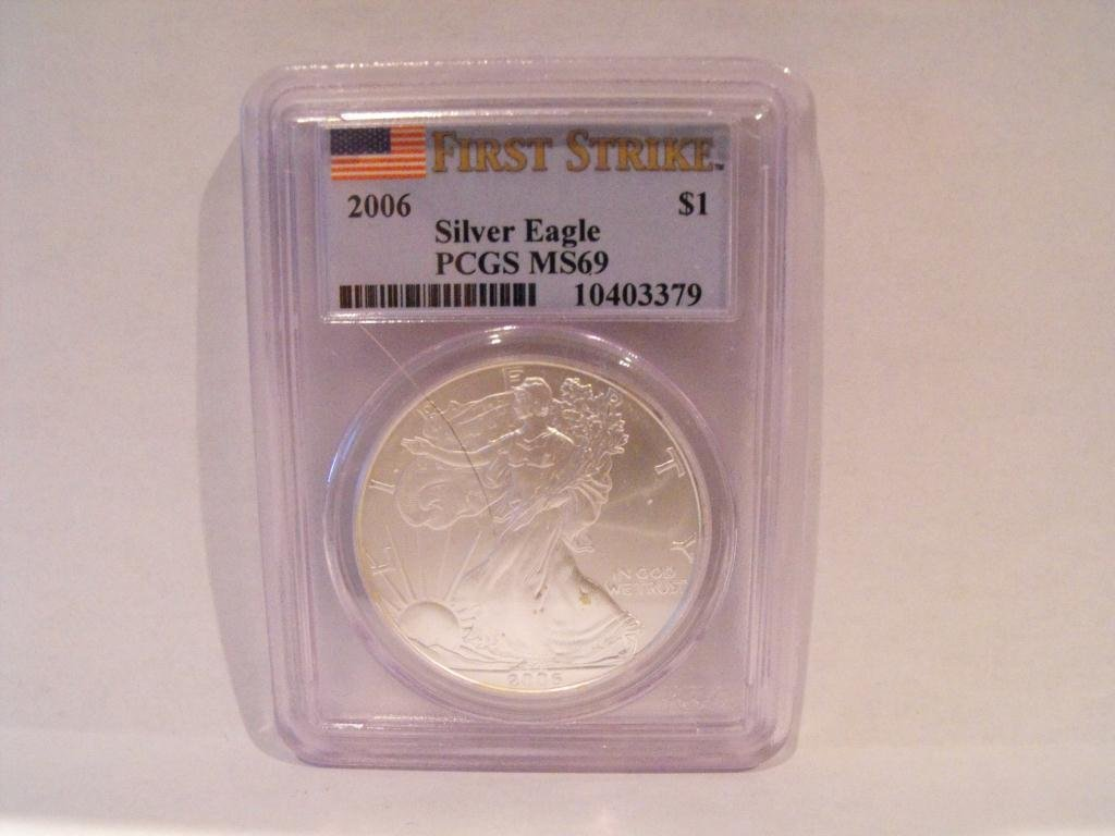 6T: 2006 US Silver Eagle MS 69 PCGS 1st Strikes