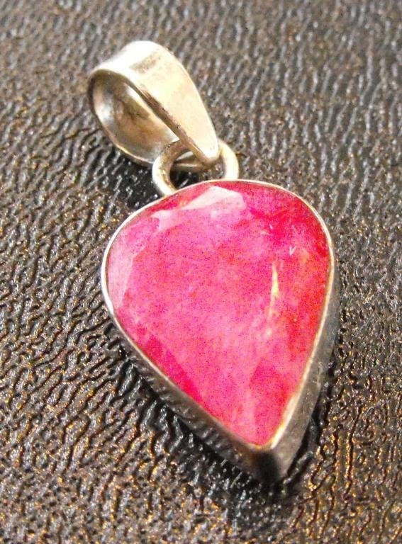4A: Natural Ruby Pendant in Sterling Mount