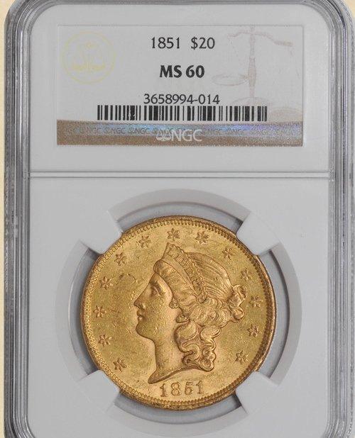 1X: 1851 $20 Liberty MS60 NGC