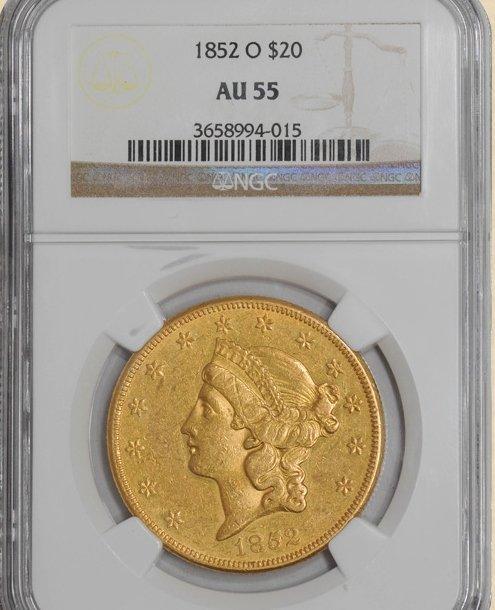 3X: 1852-O $20 Liberty AU55 NGC