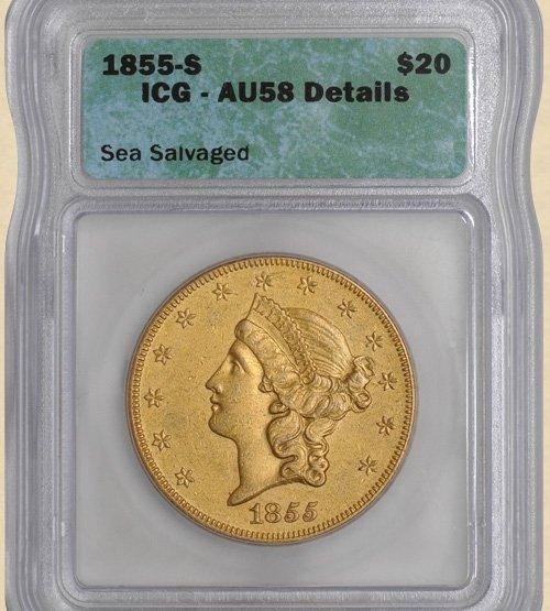 4X: 1855-S $20 Liberty AU58 Details ICG