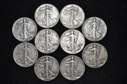 7: Lot of 10 Walking Liberty Halves- Mixed Dates-