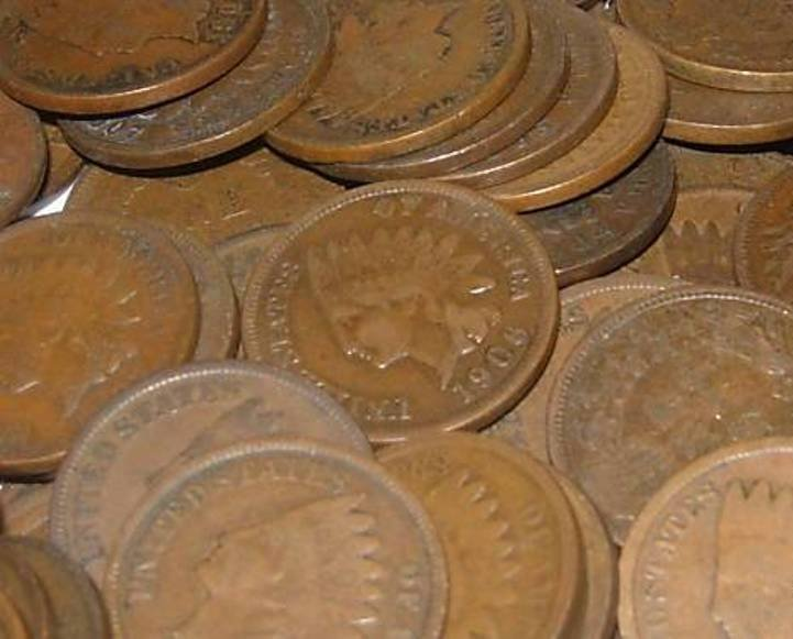 12: Lot of 50 Indian Head Pennies-ag-xf