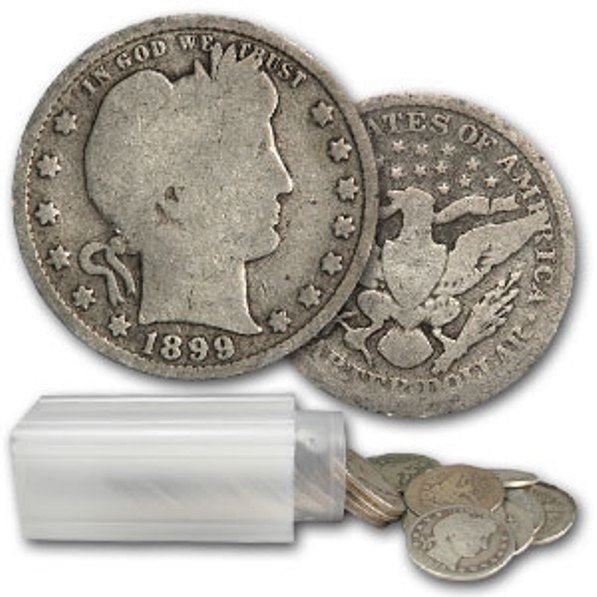 17: Roll of Barber Quarters ag-xf grades- 1892-1916