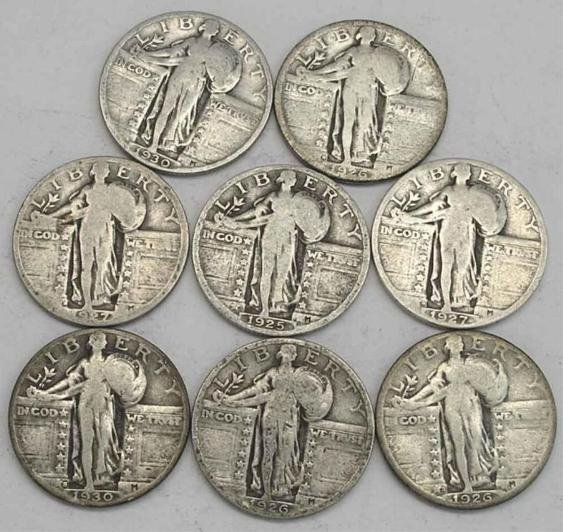 19: Lot of 4 Standing Liberty Quarters-From Cache