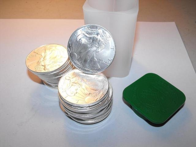 9S: Roll of Mint Tube Silver Eagles - Random Years