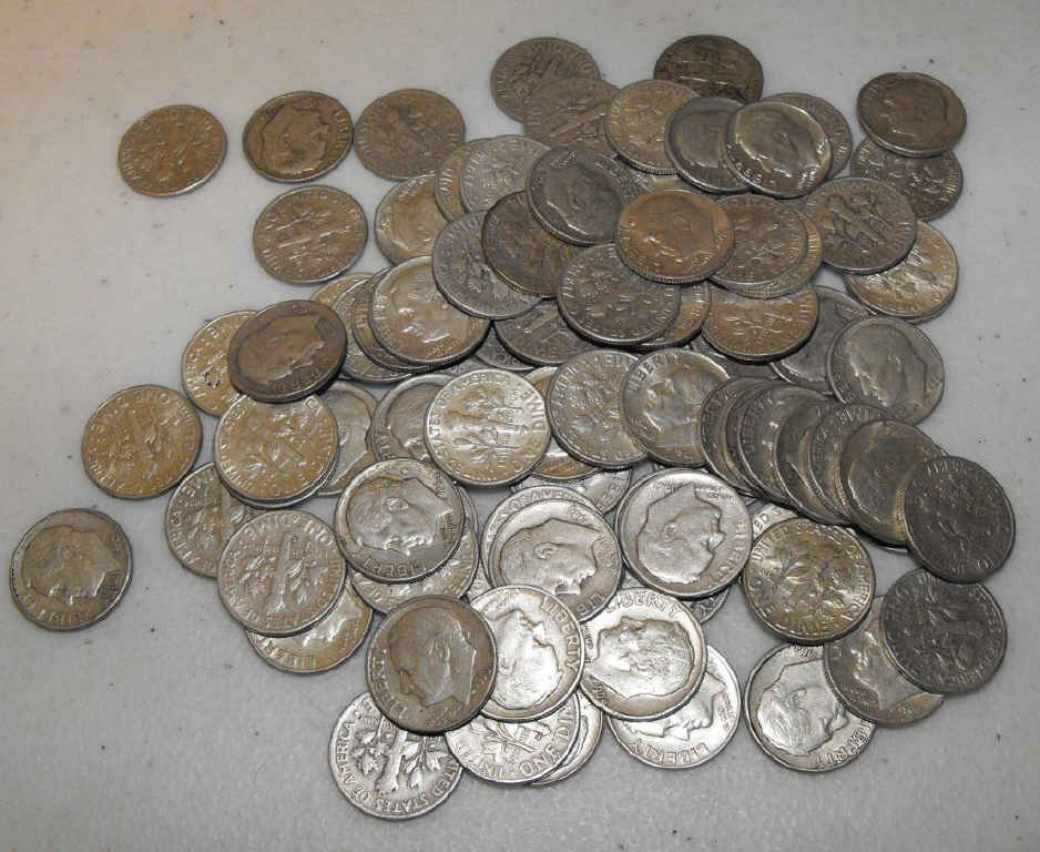 6S: Lot of 100 90% Silver Roosevelt Dimes