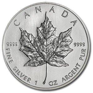 9C: (10) Silver 1 oz Maple Leaf Bullion