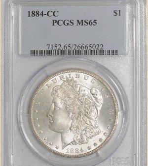 5Z: 1884-CC Morgan $ MS65 PCGS