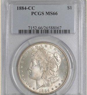7Z: 1884-CC Morgan $ MS66 PCGS