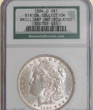 11Z: 1884-O Morgan $ BU NGC Binion Collection