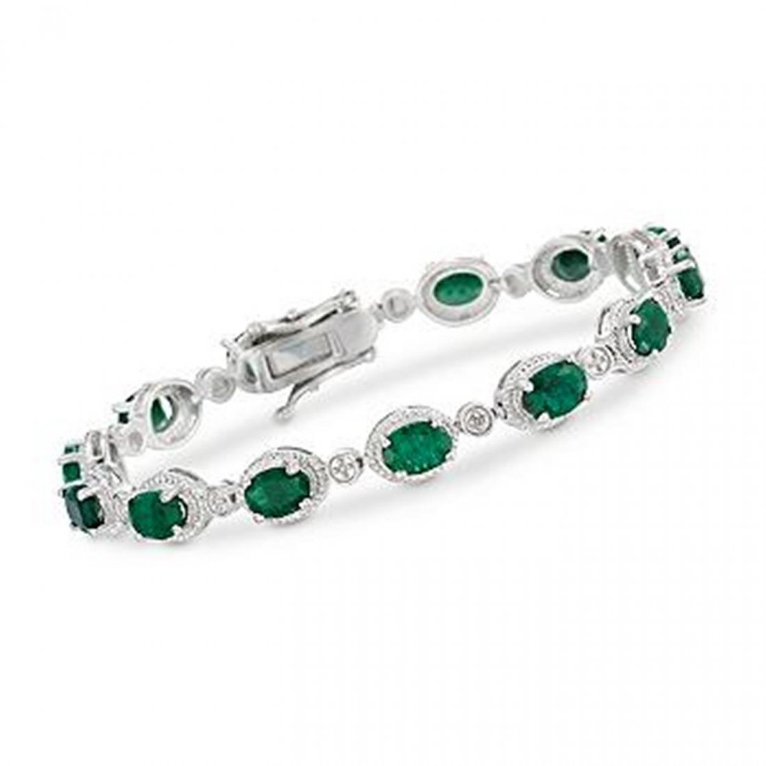 2R: 9.10 ct. t.w. Emerald Bracelet in Sterling Silver I