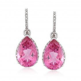 13.00 Ct. T.w. Pink Topaz And .12 Ct. T.w. Diamond