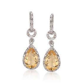 5R: 6.00 ct. t.w. Citrine and Diamond Drop Earrings in