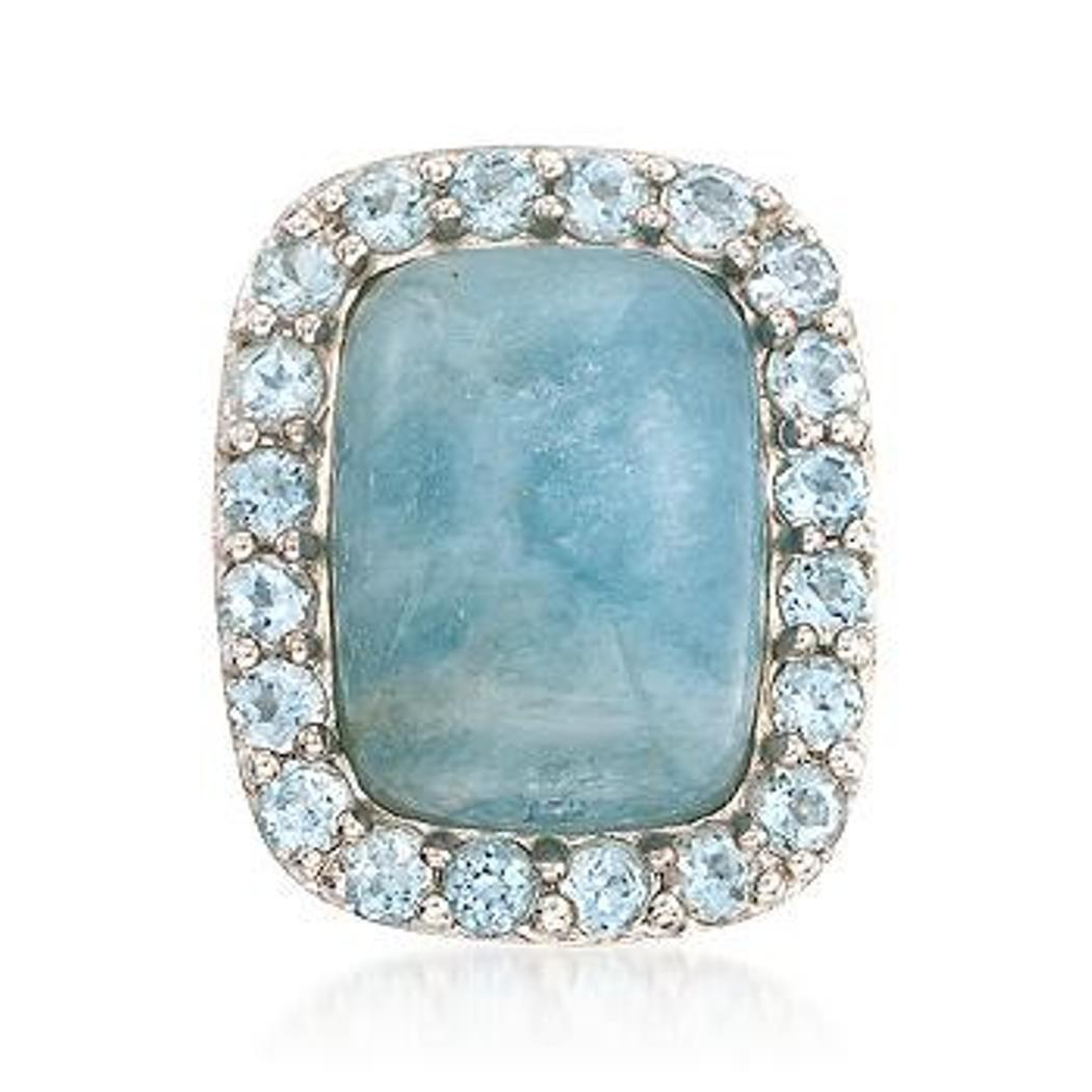 7R: Milky Aquamarine and 2.60 ct. t.w. Blue Topaz Ring