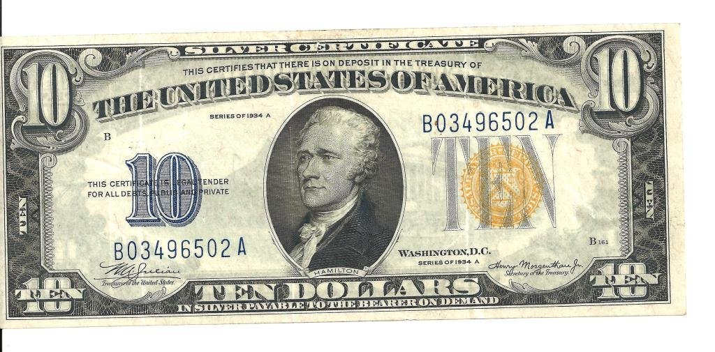 20R: RA- Gold Seal Silver Certificate  BLUE Ten Currenc