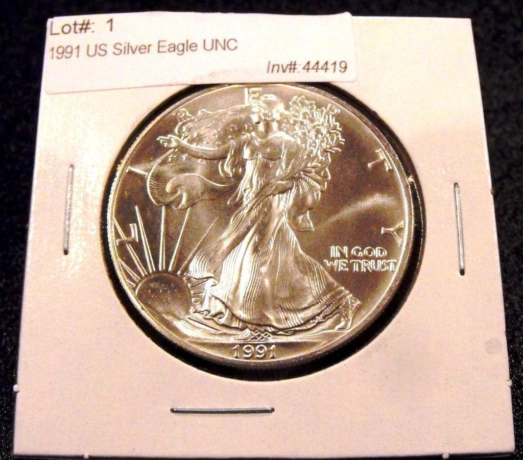 1: 1991 US Silver Eagle UNC