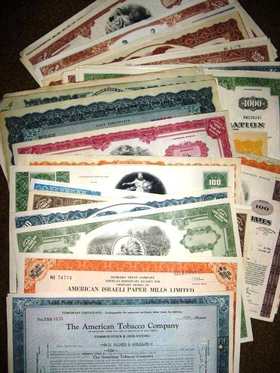3C: Lot of (50) Old Stock Certificates - Great ARTWORK