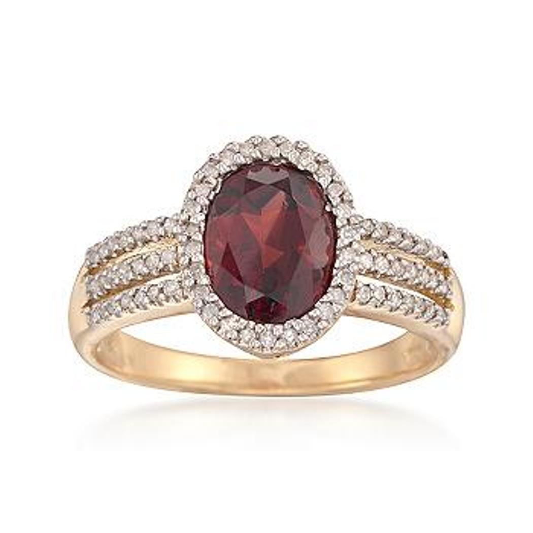 1.90 Carat Garnet and .20 ct. t.w. Diamond Ring in 18kt