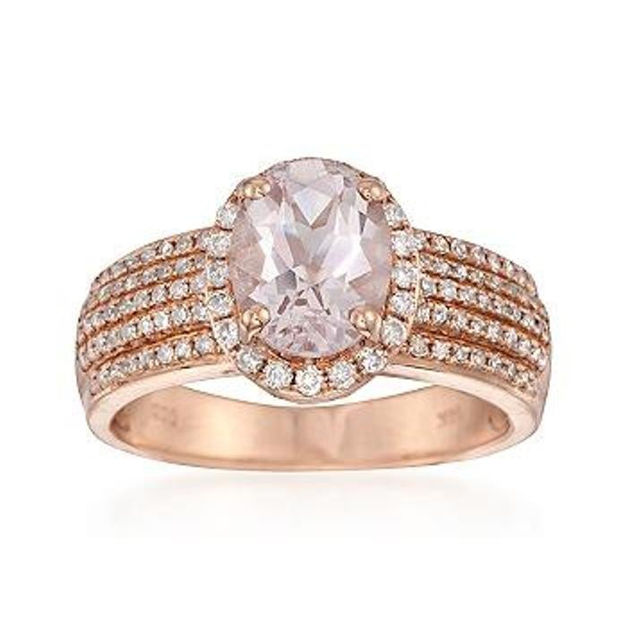1.50 Carat Oval Morganite and .50 ct. t.w. Diamond Ring