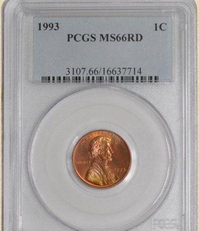 1993 Lincoln 1c MS66 PCGS Red Color!!