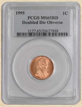 1995 Lincoln 1c MS65 PCGS Red Doubled Die Obverse Cresc