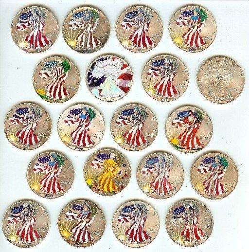 (1) US Silver Eagle Patriotic Designs  1 oz. Silver 1 f