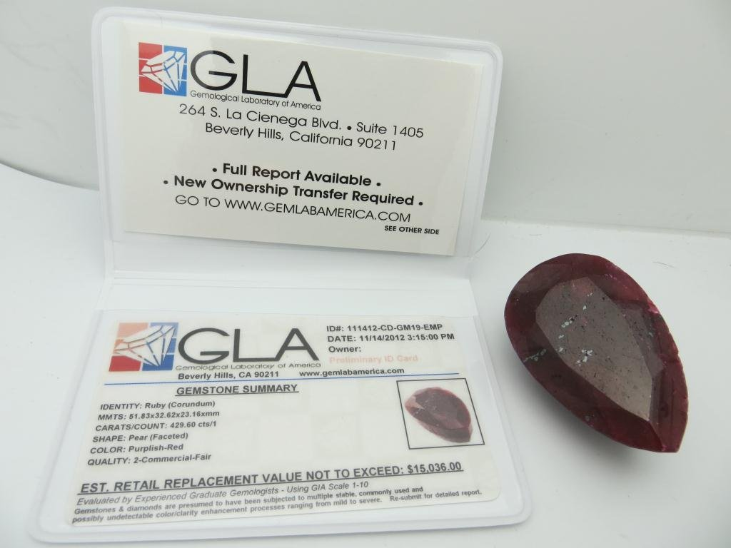 429.60 ct. Ruby Gemstone $15,036 Appraisal